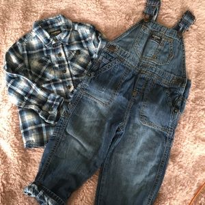 EUC flannel-lined overalls and shirt